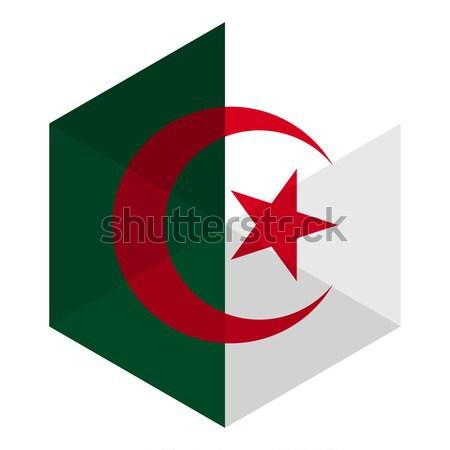 アルジェリア フラグ 六角形 アイコン ボタン 世界 ストックフォト © gubh83