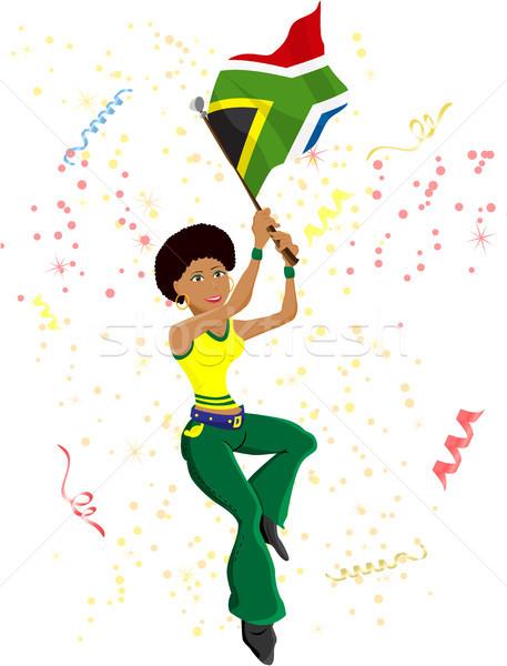 Zwarte meisje South Africa voetbal fan vlag Stockfoto © gubh83
