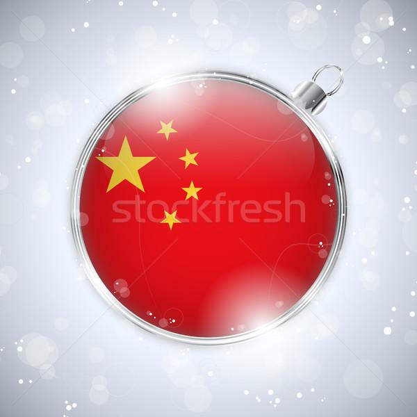 Neşeli Noel gümüş top bayrak Çin Stok fotoğraf © gubh83