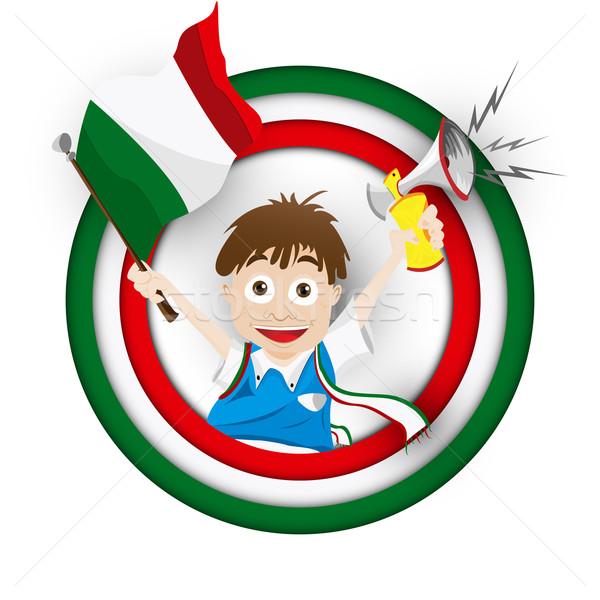 Italy Soccer Fan Flag Cartoon Stock photo © gubh83