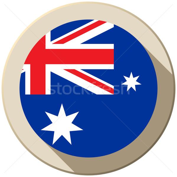 Avustralya bayrak düğme ikon modern vektör Stok fotoğraf © gubh83