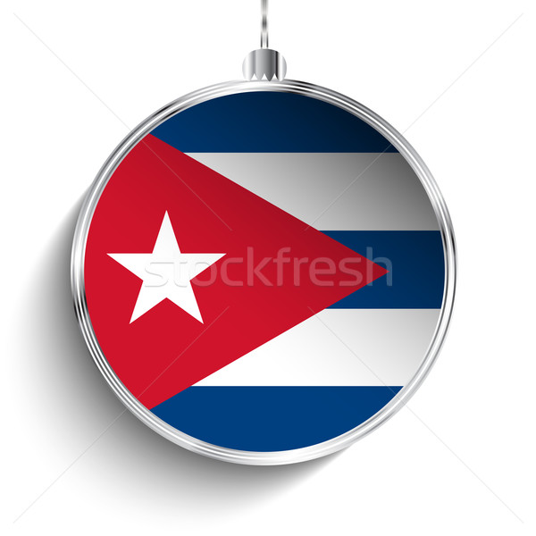 Alegre natal prata bola bandeira Cuba Foto stock © gubh83