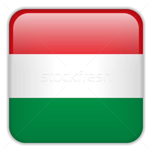 Macaristan bayrak uygulama kare düğmeler Stok fotoğraf © gubh83
