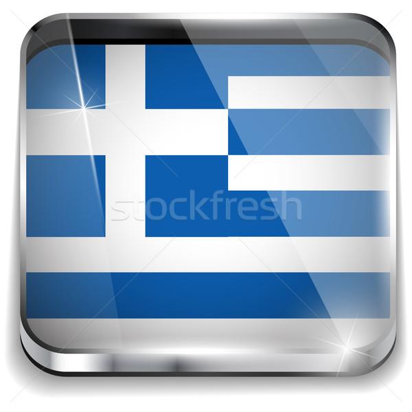 Grecja banderą smartphone aplikacja placu przyciski Zdjęcia stock © gubh83