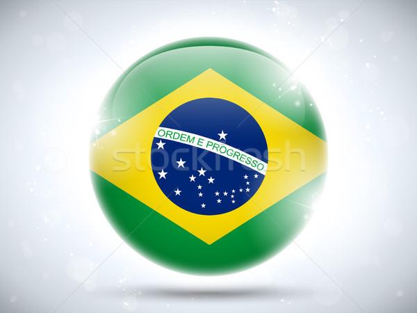 Brasil bandera botón vector vidrio Foto stock © gubh83