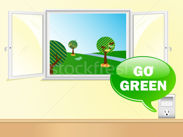 Electric Outlet Saying Go Green with Beautiful Window.  Stock photo © gubh83
