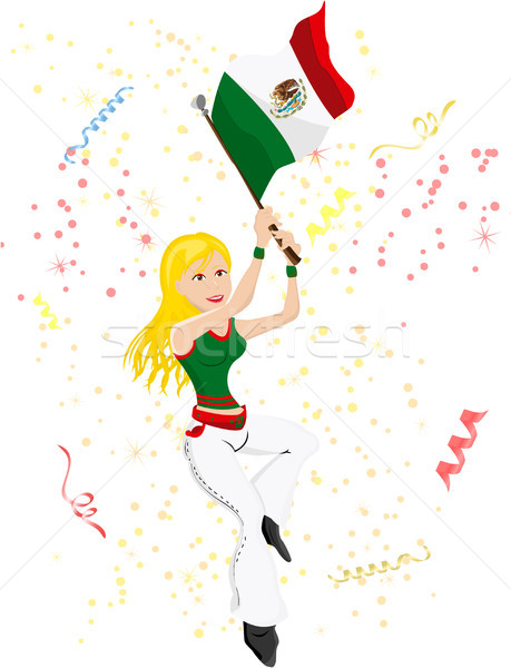 Mexico Soccer Fan with flag. Stock photo © gubh83
