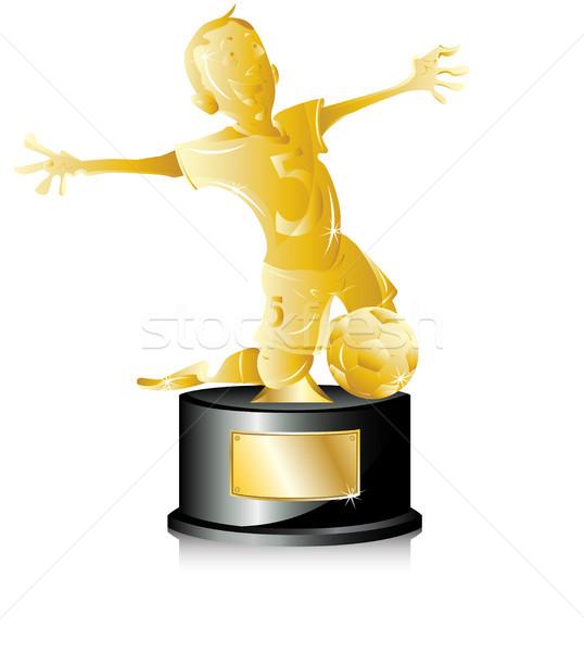 Futebol dourado troféu primeiro lugar bola Foto stock © gubh83