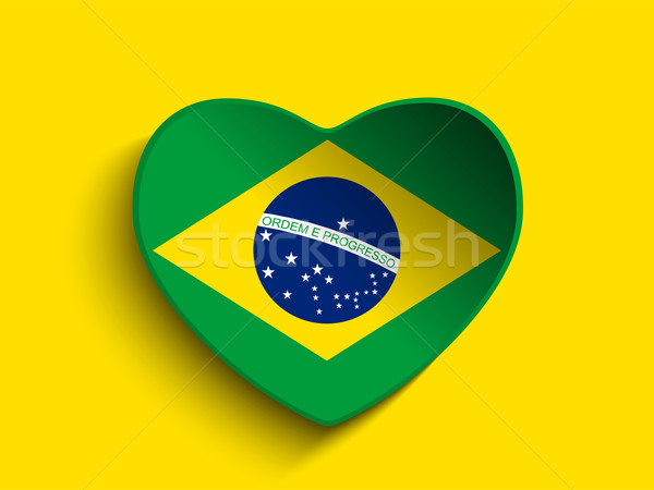 Brazil 2014 Heart with Brazilian Flag Stock photo © gubh83