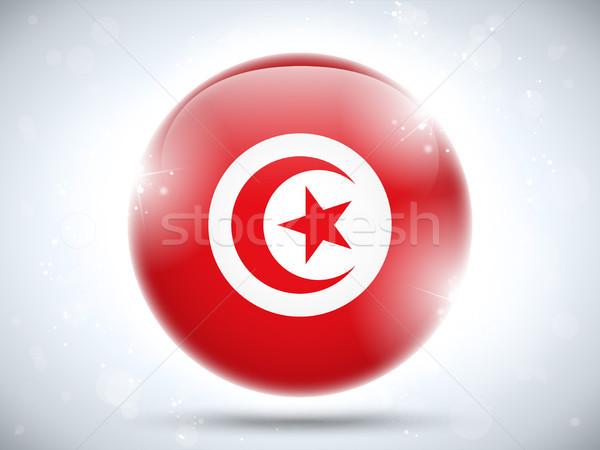 Тунис флаг кнопки вектора стекла Сток-фото © gubh83