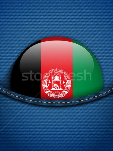 Афганистан флаг кнопки джинсов кармана вектора Сток-фото © gubh83