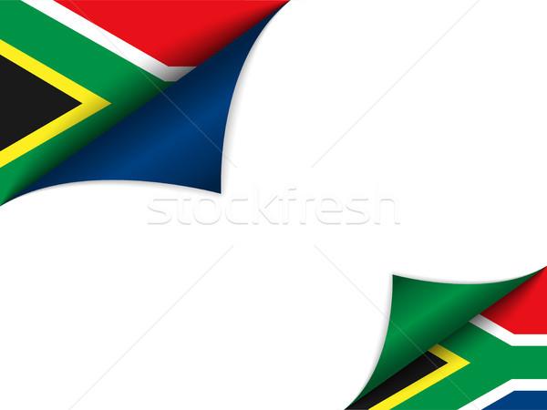 Dél-Afrika vidék zászló oldal vektor felirat Stock fotó © gubh83