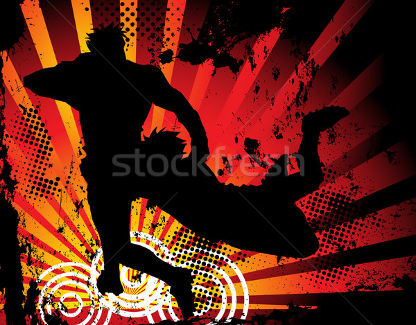 Rugby oyuncular siluet grunge vektör görüntü Stok fotoğraf © gubh83