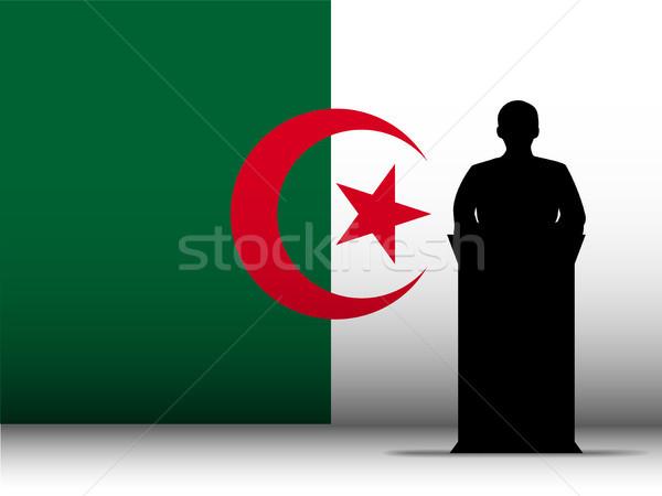 Algeria Speech Tribune Silhouette with Flag Background Stock photo © gubh83