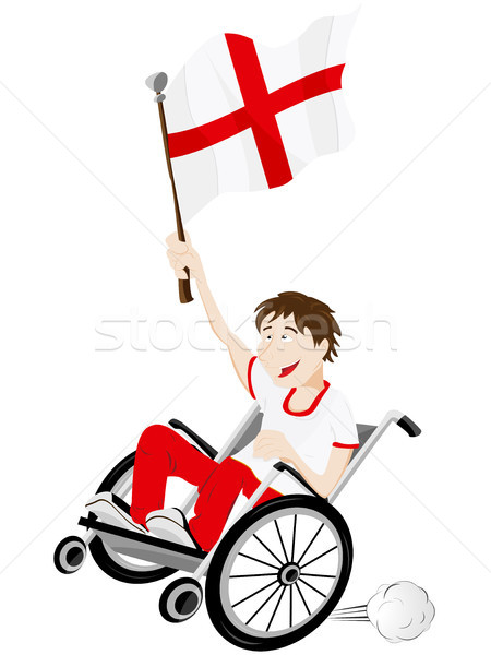 England Sport Fan Supporter on Wheelchair with Flag Stock photo © gubh83