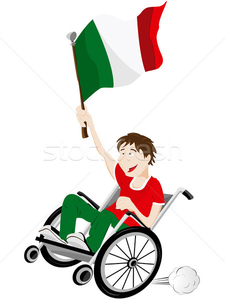 Italy Sport Fan Supporter on Wheelchair with Flag Stock photo © gubh83