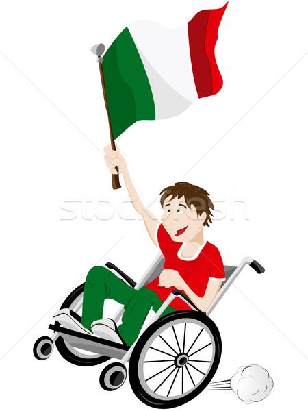 Italien Sport Fan Anhänger Rollstuhl Flagge Stock foto © gubh83