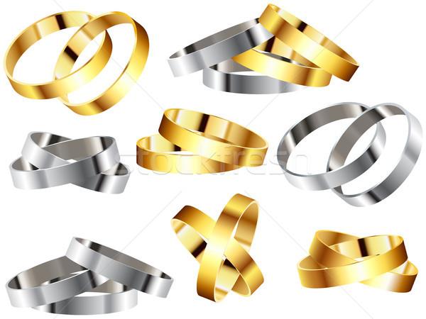 Fém gyűrűk karszalag szett vektor esküvő Stock fotó © gubh83