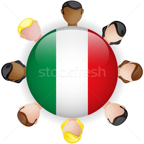 イタリア フラグ ボタン チームワーク 人 グループ ストックフォト © gubh83