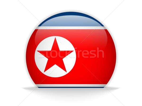 North Korea Flag Glossy Button Stock photo © gubh83