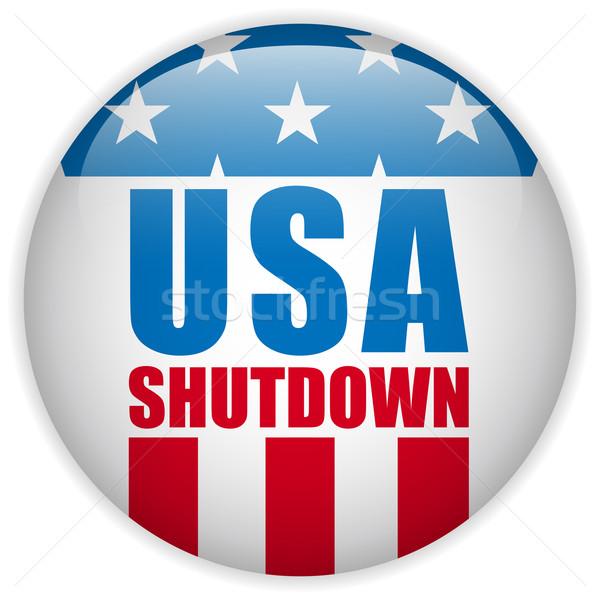 Verenigde Staten overheid knop vector Blauw vlag Stockfoto © gubh83