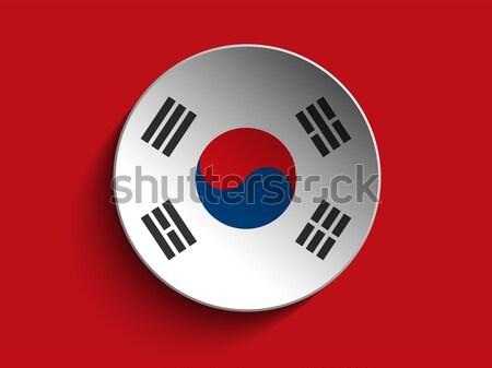 Banderą papieru kółko cień przycisk Korea Południowa Zdjęcia stock © gubh83
