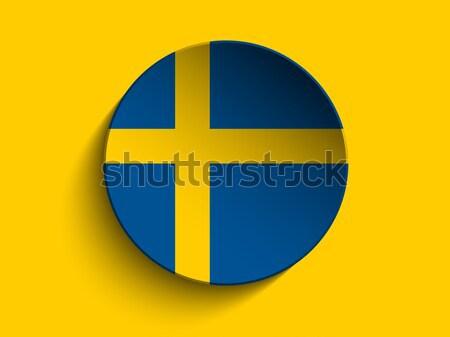 Banderą papieru kółko cień przycisk Szwecja Zdjęcia stock © gubh83