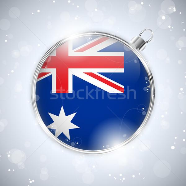 Wesoły christmas srebrny piłka banderą Australia Zdjęcia stock © gubh83