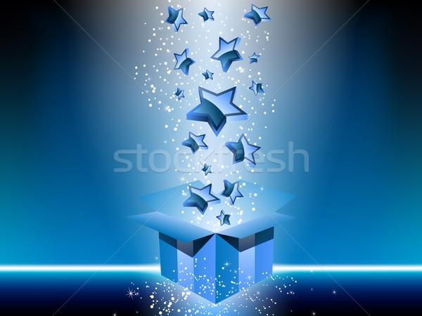 Niebieski szkatułce gwiazdki wektora obraz Zdjęcia stock © gubh83