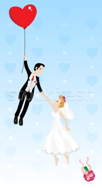 Friss házasok pár repülés szív alakú léggömb Stock fotó © gubh83