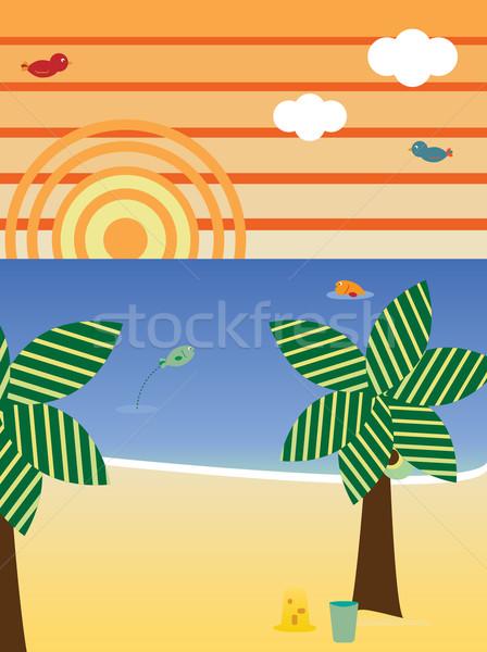 ストックフォト: レトロな · ビーチ · 風景 · シーズン · 夏 · ベクトル