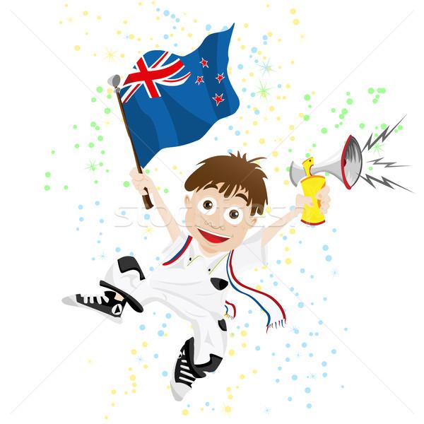Nowa Zelandia sportu fan banderą róg wektora Zdjęcia stock © gubh83