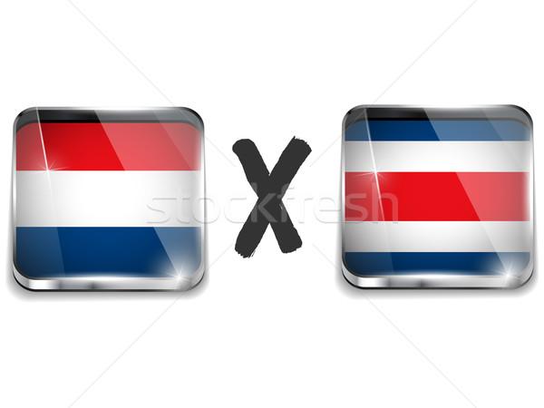 Nederland Costa Rica vlag voetbal spel vector Stockfoto © gubh83