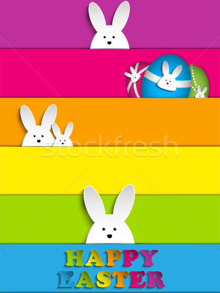 Happy Easter Rabbit Bunny on Rainbow Background Stock photo © gubh83