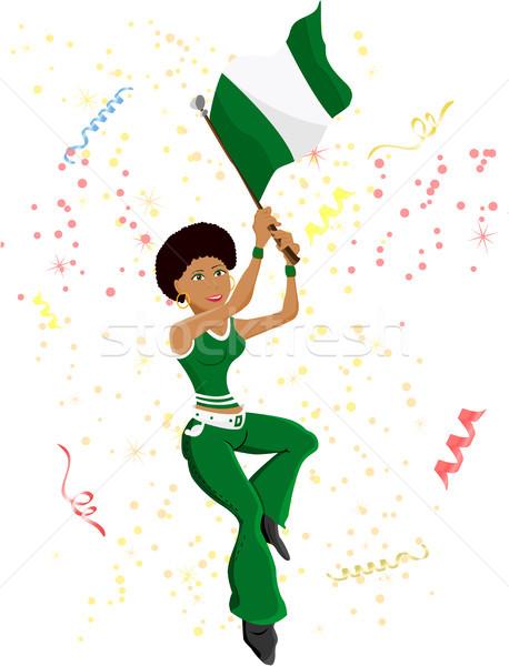 Preto menina Nigéria futebol ventilador bandeira Foto stock © gubh83