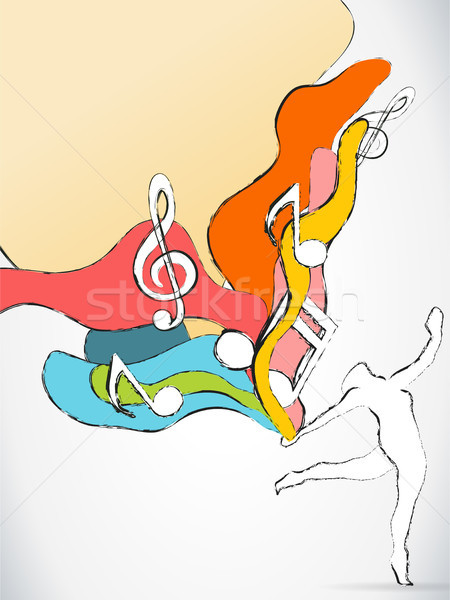 Dancer Silhouette with Colorful Waves and Music Notes Stock photo © gubh83