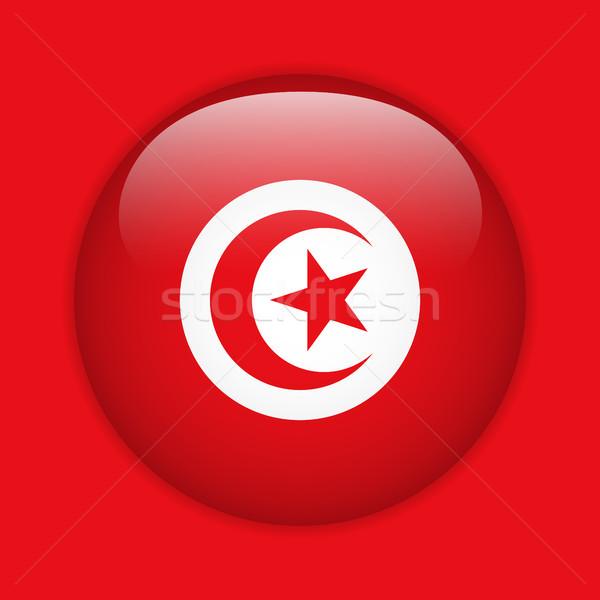 Tunus bayrak parlak düğme vektör cam Stok fotoğraf © gubh83