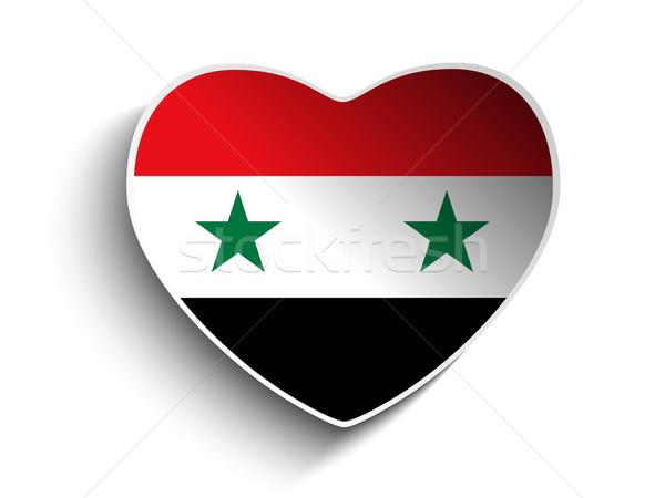Syrië vlag hart papier sticker vector Stockfoto © gubh83
