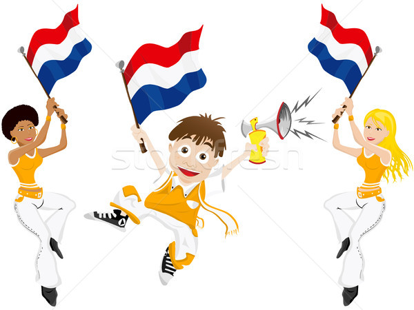 Netherlands Sport Fan with Flag and Horn Stock photo © gubh83