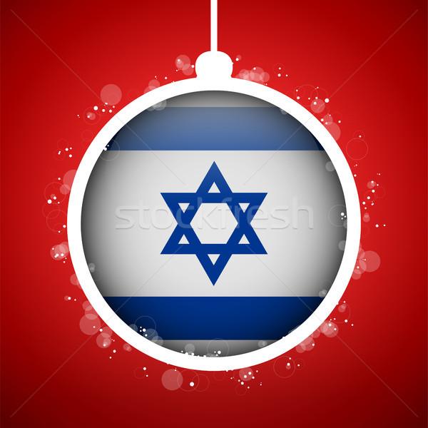 Vidám karácsony piros labda zászló Izrael Stock fotó © gubh83