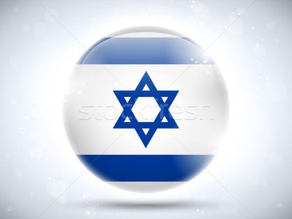 Izrael banderą przycisk wektora szkła Zdjęcia stock © gubh83