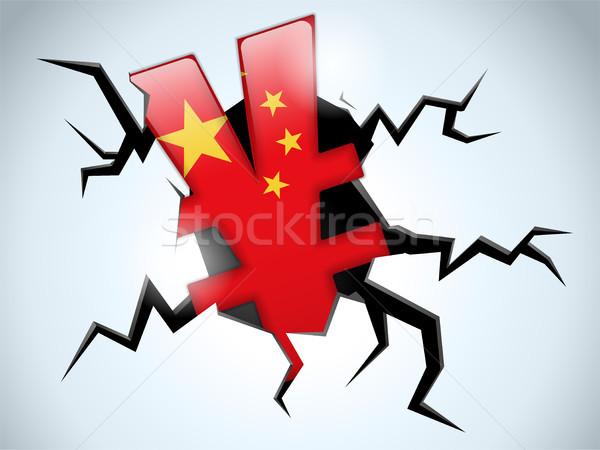 Yen para kriz Çin bayrak çatlamak Stok fotoğraf © gubh83