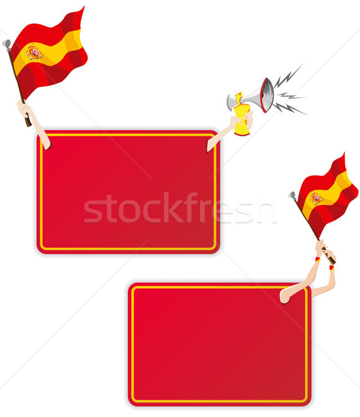 Stock photo: Spain Sport Message Frame with Flag. Set of Two