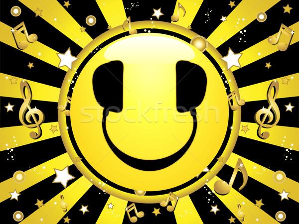 Emotikon buli csillagok hangjegyek zene arc Stock fotó © gubh83