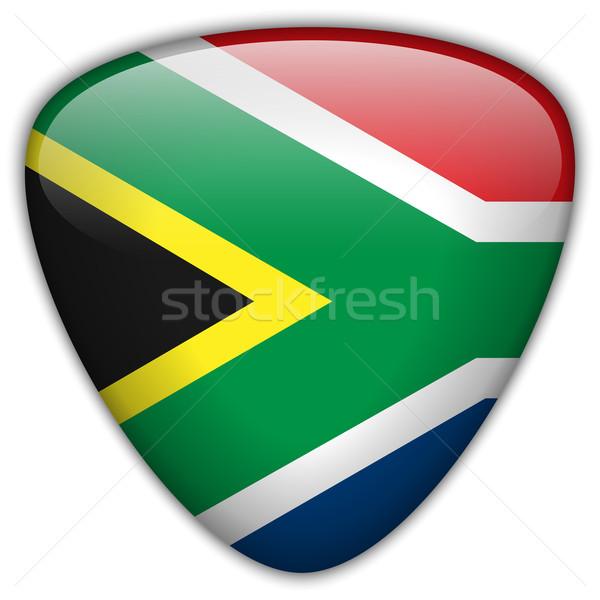 Dél-Afrika zászló fényes gomb vektor üveg Stock fotó © gubh83