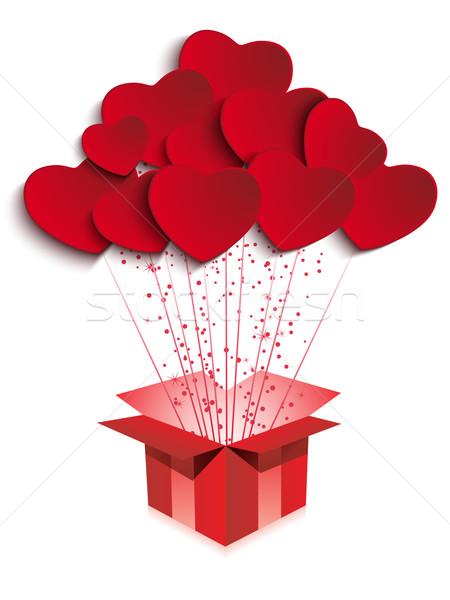 Heureux saint valentin cadeau coeurs vecteur fond Photo stock © gubh83