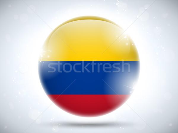 Colombia bandiera lucido pulsante vettore vetro Foto d'archivio © gubh83