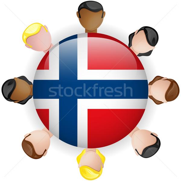 Norwegia banderą przycisk zespołowej ludzi grupy Zdjęcia stock © gubh83