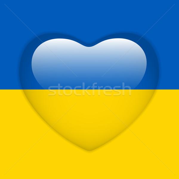 Ukraine Flag Heart Glossy Button Stock photo © gubh83
