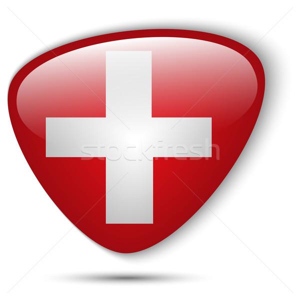 Szwajcaria banderą przycisk wektora szkła Zdjęcia stock © gubh83